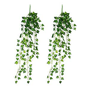 ZJT Artificial Flowers Plants for Decoration 2 Bunches Hanging Creeper for Artificial Gardening and Home Decor