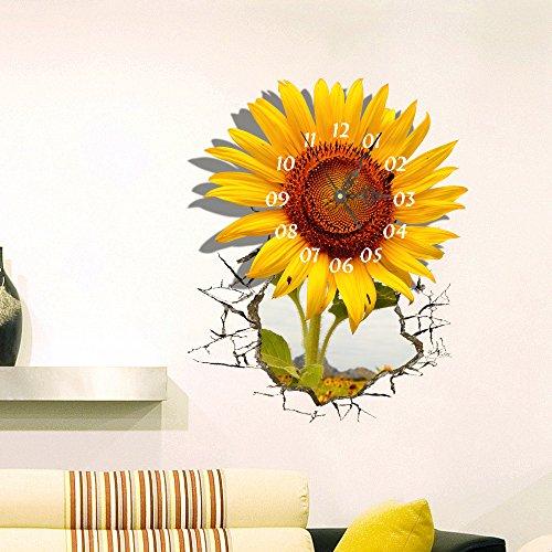 Wanduhr 3D- European Simple Fashion 3D Wandaufkleber Uhr Wohnzimmer, Restaurant, Mute Persönlichkeit Sonnenblume Wandaufkleber Uhr Selbstklebend Vintage-sonnenblume-dekor