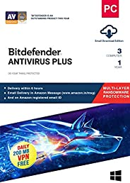 BitDefender Antivirus Plus Latest Version with Ransomware Protection (Windows) - 3 User, 1 Year (Email Deliver