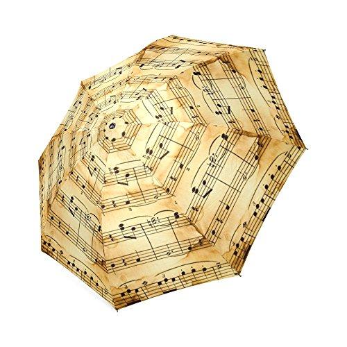 Geburtstag Geschenke/Weihnachten Day Gifts Retro Style Music Notes 100% Stoff und Aluminium faltbar Hochwertige Regenschirm (Noten Stoff)