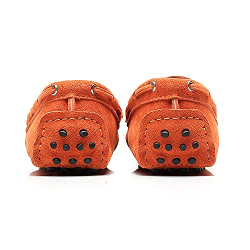 Shenn Femmes Classique Lacet Bowknot Suède Flâneur Chaussons Doux Fait Main Mocassins de Conduite Orange - Orange