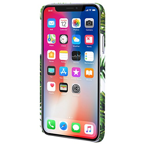 Yokata Coque iPhone X Housse Étui Rigide Motif Feuilles de Banane Vert Bumper PC Dur Etui iPhone X Hard Case Ultra Fine Mince Cover Antichoc Housse de Protection - B D
