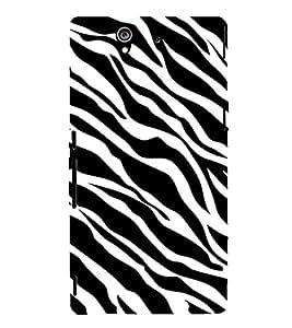Fiobs Designer Phone Back Case Cover Sony Xperia Z :: Sony Xperia ZC6603 :: Sony Xperia Z L36h C6602 :: Sony Xperia Z LTE, Sony Xperia Z HSPA+ ( Zebra Print White Tiger Print )