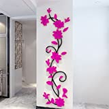 #10: Rose : bismarckbeer 3D Romantic Rose Flower Removable PVC Wall Stickers Home Decal Living Room Decor (Rose)