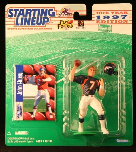 John Elway/Denver Broncos 1997 NFL Starting Lineup Aktion steht & Exclusive NFL Collector Trading Card by Starting Line Up Broncos Football Cards
