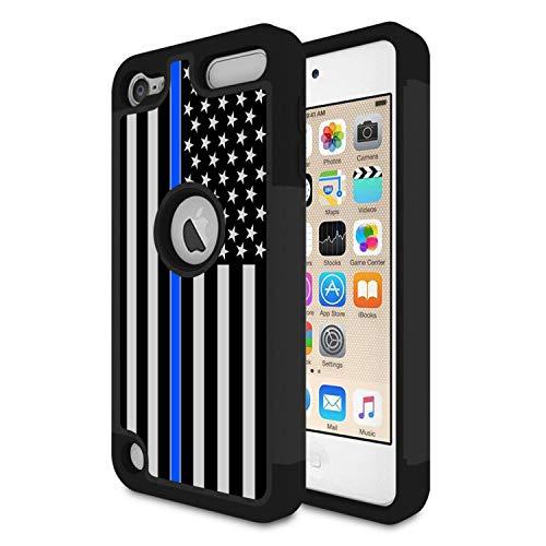 iPod Touch 6Fall, iPod Touch 5Fall, Rossy Dünn Blau Line US Flag Design Heavy Duty Dämpfung Hybrid Dual Layer Rüstung Defender Schutzhülle Cove für Apple iPod Touch 56. Generation (Ipod Touch 5 Schwarz Und Blau Fall)