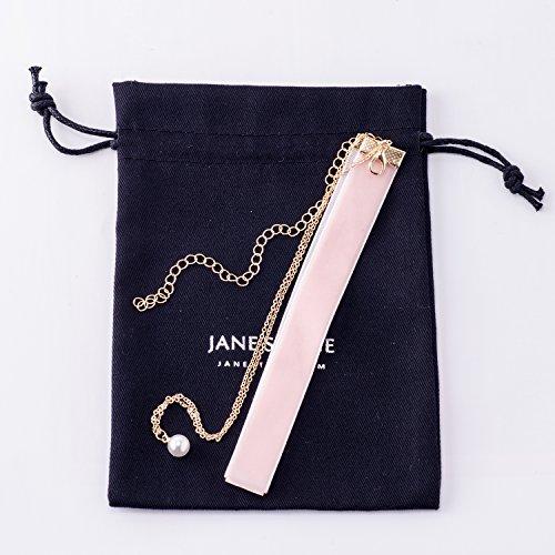 Jane Stone Damen Halskette Velvet Choker 2 reihig Metall Gliederkette mit Perle Anhänger Choker-Kette aus Zierperle Samt und Metalllegierung - 4