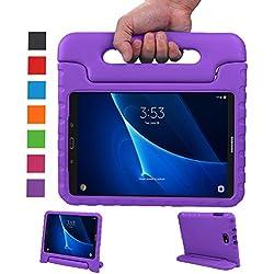LEADSTAR Samsung Galaxy Tab A 10.1 EVA Etui Poignée Stand Étui Enfants Housse Antichoc Protecteur Kids Coque Anti-Chocs pour Samsung Galaxy Tab A 10.1-pouces SM-T580 SM-T585(Pourpre)