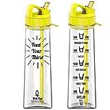 Drin'Kup 900ml – BPA-freie Wasserflasche mit Strohhalm - motivierende Zeitmarkierungen – dicht – umweltfreundliche Plastik-Trinkflasche/Sport-Trinkflasche für Fitness, Yoga, Outdoor und Camping (Gelb)