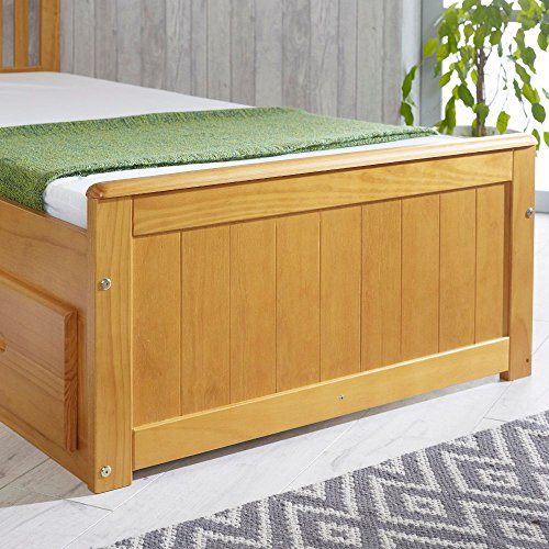 Happy Beds Mission Wooden Solid Honey Pine Storage Bed Drawers Furniture Frame 3' Single 90 x 190 cm