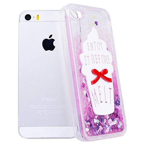 GrandEver Coque iPhone 5 / 5s / SE Cœur Motif Design Transparente à Paillette Rose Dur Plastique PC Glitter Liquide Crystal Antichoc Case Etui Housse pour iPhone 5 / iPhone 5s / iPhone SE 6