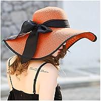 GGLLBL Grandes del Verano de ala del Sombrero de Paja de ala Ancha Disquete Sombrero for el Sol del Bowknot Playa Plegable Sombrero Nuevo de Las señoras Sombrero (Color : Orange)