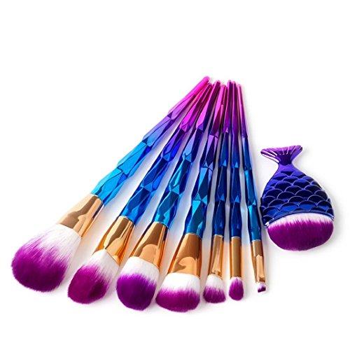 Pinceau Maquillage Sisit Nouveau 7Pcs bleu foncé en forme de diamant ensembles de brosses cosmétiques Outils de brosse de maquillage de sourcil et de fard à paupières (1 Set)