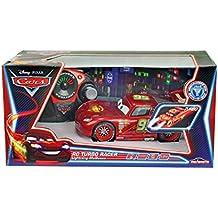 Cars - Coche con radio control, Rayo McQueen Neon, escala 1:43, color negro y rojo (Mattel 3089569)