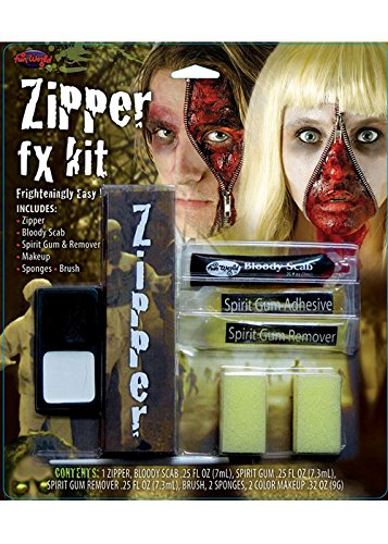 Zombie Horror Zip Make-Up Kit (Reißverschluss Gesicht Halloween Kostüme)