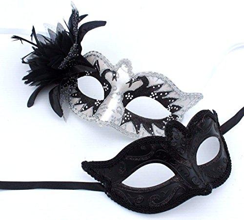 Sein und ihrs Zwei Schwarz und Silber venezianische Maskerade Partei Karneval Masken (Schwarz Und Silber Maskerade Masken)