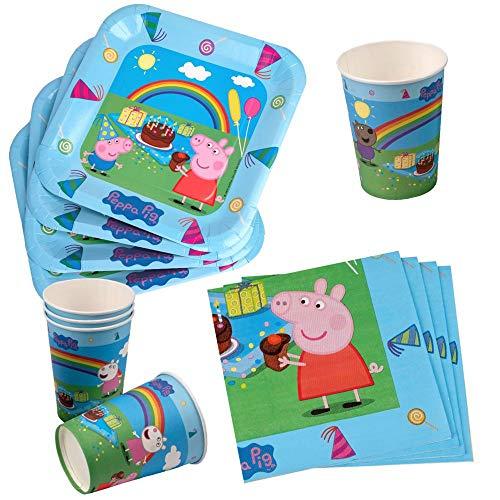 Peppa Wutz Set Party | Einweg-Geschirr Peppa Pig | Teller Becher Servietten (Pig Peppa Thema Geburtstag)