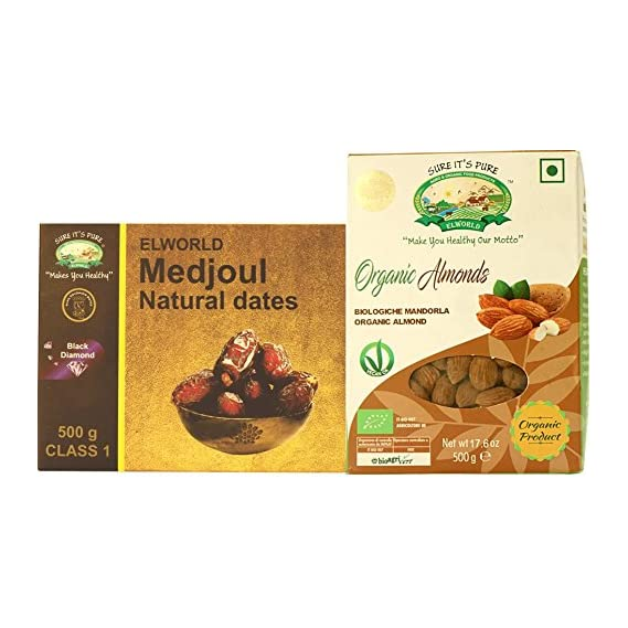 Elworld Organic Medjoul Dates (500g) and Almonds (500g) Combo Pack
