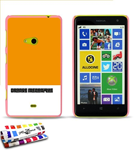 "Coque rigide Ultra-Slim NOKIA LUMIA 625 au motif exclusif [Orange mécanique] [Violette] de MUZZANO + 3 Films de protection écran ""UltraClear"" + STYLET et CHIFFON MUZZANO® OFFERTS - La Protection Anti- Rose: Orange mécanique"