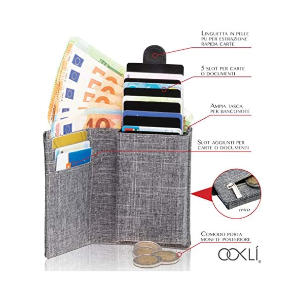 OOKLÍ Porta Carte Di Credito RFID Schermato Portamonete Design Unico Mini Portafoglio Uomo Slim Wallet Verticale Porta… 2 spesavip