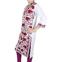Ricamati a mano 100% cotone rosso floreale - camicetta manica