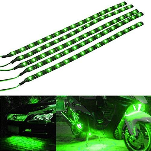 Mintice™ 5 X vert 12V 15 Led véhicule automobile calandre 30cm de voiture bande de lumière underbody souple imperméable