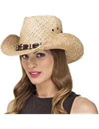 Ladies Womens Straw Cowboy Country Summer Sun Hat with Trim LS14007