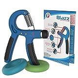 Blazz Unterarmtrainer Set - Fingerhantel mit verstellbarem Widerstand + 2 Grip- Ringe in verschiedenen Stärken - Bonus: Trainingsplan (blau)