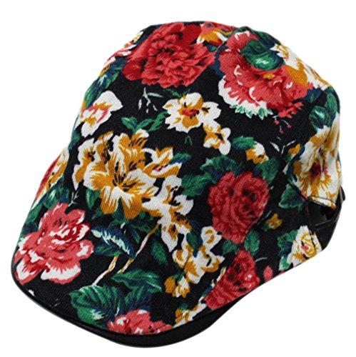 ACVIP Adulte Femme Casquette Plate Imprimé Fleur Chapeau Toile de Coton,Taille Unique Rouge