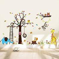 Large Tree Wall STICKER4U Fun Animals in Africa/240x 150cm, Squirrel Owl Monkey Giraffe Elephant Butterflies Fox Bird Floral Baby Room Kids Nursery Wall Sticker Removable Wall Decoration Sticker