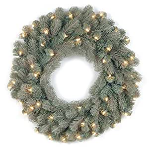 "National Tree ""Feel-Real"" Frosted Colorado Spruce Wreath with 50 Clear Lights, 24-Inch"