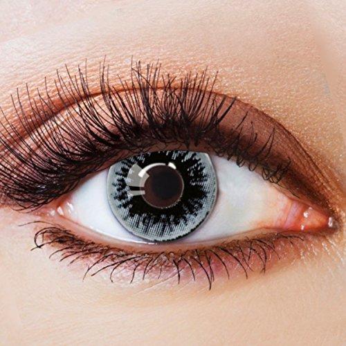 Farbige Kontaktlinsen Schwarz Ohne Stärke mit Motiv Schwarze Fun Linsen für Halloween Karneval Party Fasching Cosplay Kostüm Black White Eye