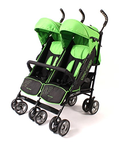 CHIC 4 BABY 324 47 Zwillingsbuggy, Green Stars