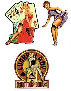 Girls lot de 3 stickers muraux motif rockabilly style oldschool us