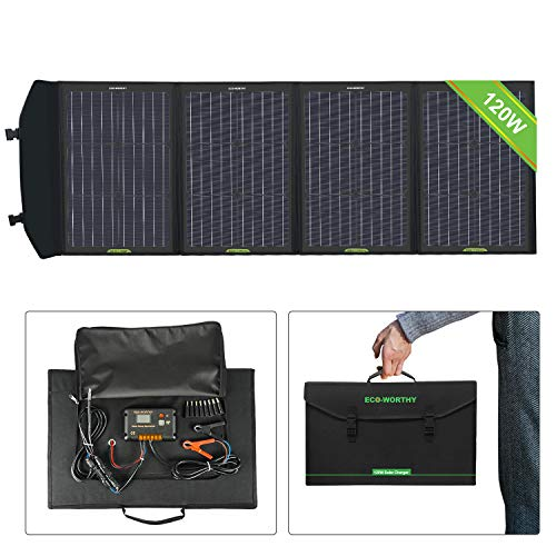 ECO-WORTHY 120W Foldable Solar Panel Charger with Charge Controller DC Output Outdoor Portable Charger in Suitcase for camper RV Hiking Laptop Tablet iPhone Compact-generator