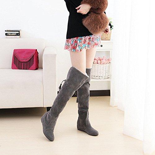 QIANGDA Donne Inverno Stivali Al Ginocchio Le Signore Scarpe Da Neve Punta Per Vestito Casual, 5 Colori Opzionale ( Colore : Rosso , dimensioni : EU34= UK1.5 ) Grigio