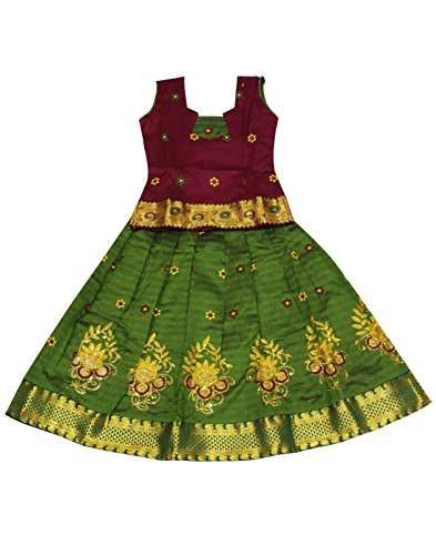 Kanakadara Self Design Girl's Lehenga Choli (Size:4-5 Years)