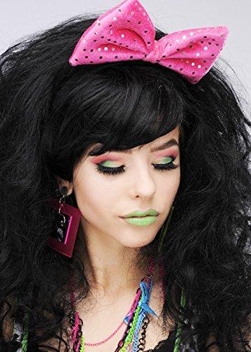 1980s Pink Sequin Fancy Dress Hair Bow on Headband Sequin Bow Headband