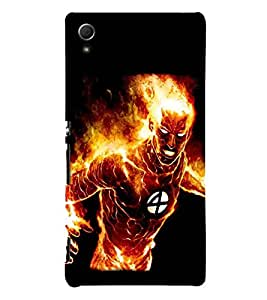 For Sony Xperia Z4 fire man, burning man, man, black background Designer Printed High Quality Smooth Matte Protective Mobile Pouch Back Case Cover by BUZZWORLD