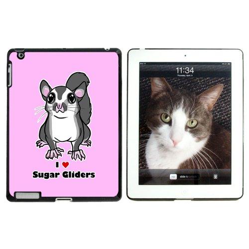 I love Herz Sugar Glider–Nagetier Tier Animal Cute Pink–Snap on Hard Schutzhülle für Apple iPad 234–Schwarz (Ipad Glider)