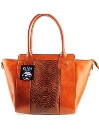 Olivia - OLIVIA - Sac à main cuir véritable / Sac en cuir marron/camel N1361 - LIVRAISON GRATUITE - Marron, Cuir