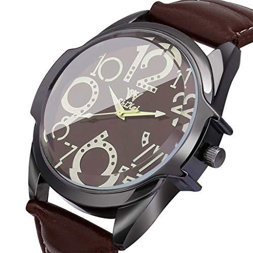 Yallylunn Luxury Men Watches Business Large Dial Watch Fashion Leather Belt Quartz Watch Mode PersöNlichkeit Runde Lederarmband High-End-AtmosphäRe Wild