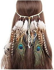 TININNA Indian Headdress Hippie Boho Gland Paon Plume Bohémien Bandeau Mariage Fête Headwear Coiffure Accessoires pour Cheveux 2