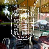 mairgwall Business horas de tiempo de abierto y cerrado personalizada de Vinilo Adhesivo Ventana Decoración Tienda decoración