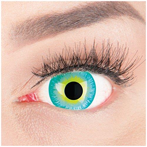 Farbige Mini Sclera Halloween Kontaktlinsen 'Green Elf' - 17mm MeralenS Horror Lenses inkl. Behälter - 1Paar (2 Stück)