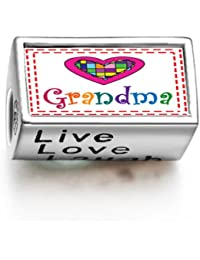 Colorful Grandma Heart Words Live Love Laugh Bead Charm Fit Pandora Chamilia Biagi beads Charms Bracelet