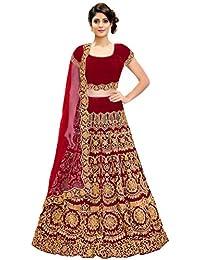171b94f6b4ba KEDARFAB Women's Bangalore Silk Embroidered Lehenga Choli with Blouse Piece  (Red, Free Size)