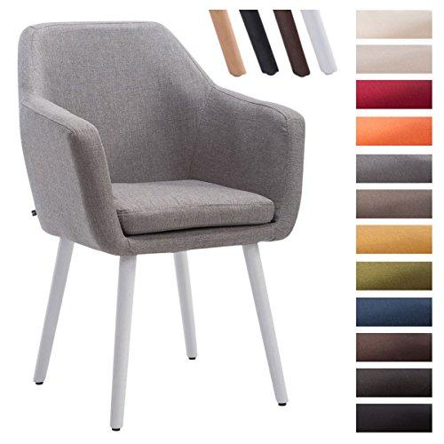 Clp sedia poltroncina utrecht in tessuto - poltrona da soggiorno con portata max 150 kg i sedia per sala attesa imbottita e telaio in legno di quercia grigio colore base: bianco