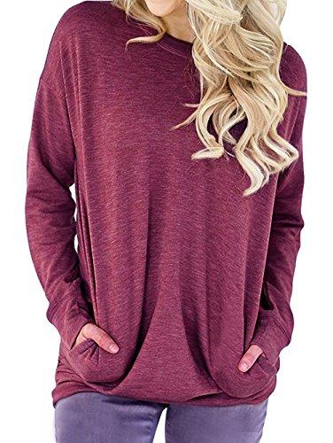 Lymanchi Damen Rundhals Langarm Shirt Einfarbige Loose Sweatshirt Tunika Bluse Top mit Taschen Fuchsia L