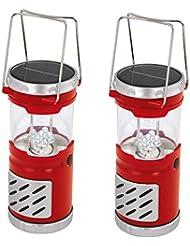 Jeu de 2 solaire LED luminaire d'extérieur Lanterne camping lampe rouge l'éclairage de jardin